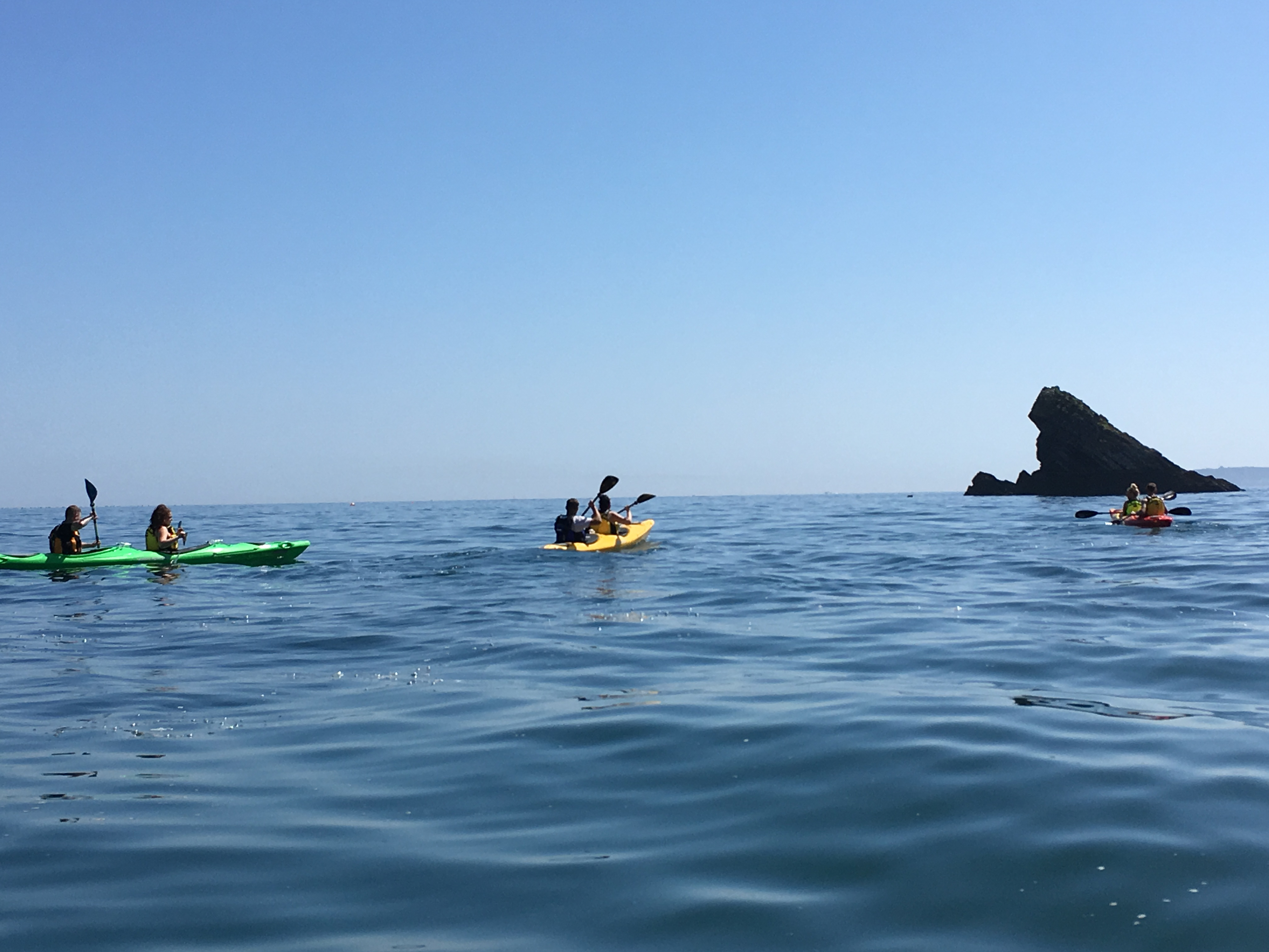 Sea Kayaking at Meadfoot, towards Shag Rock
